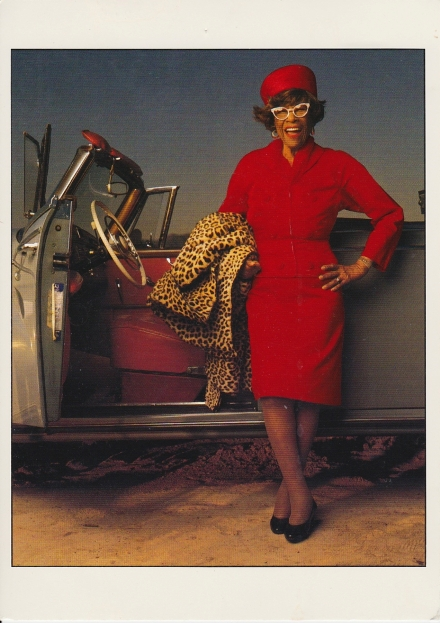 A scanned postcard photo of Ella Fitzgerald by Annie Leibovitz